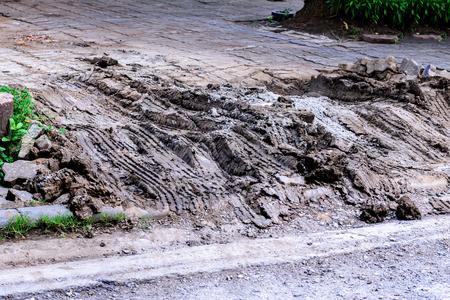 quagmire: Wheel tracks in mire. Stock Photo