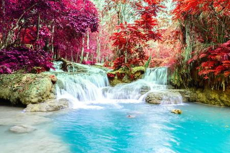 Rainforest waterfall, Tat Kuang Si Waterfall at Luang Prabang, Loas. Stockfoto