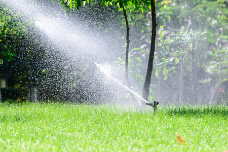 water sprinkler: Garden lawn water sprinkler system. Stock Photo