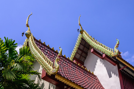 apex: Beautiful gable apex on the roof of buddhist temple. Stock Photo