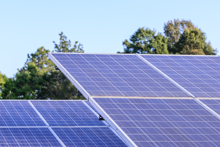 sun energy: Solar cells for renewable solar energy with sun. Stock Photo