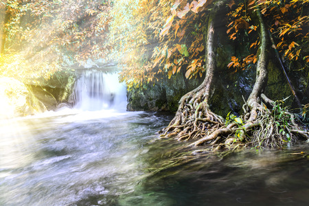 autmn: Beautiful autumn waterfall in national park, Saraburi Thailand.