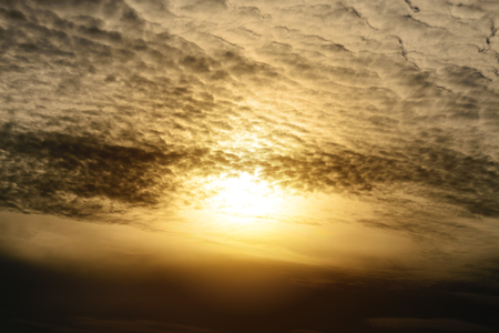 dramatically: Dramatically clouds with sunlight at sunset. Stock Photo