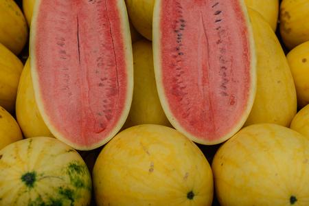the freshness: Half sliced freshness watermelon. Stock Photo