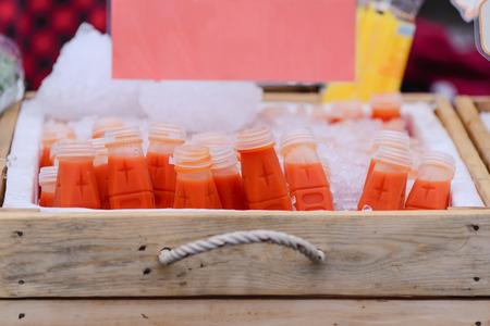 friut: Freshness gac friut juice in plastic bottle.