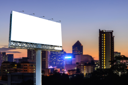 advertising signs: Blank billboard for advertising with cityscape sunset background.