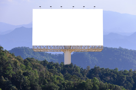 Blank billboard for advertising with forest background, concept advertising everywhere.