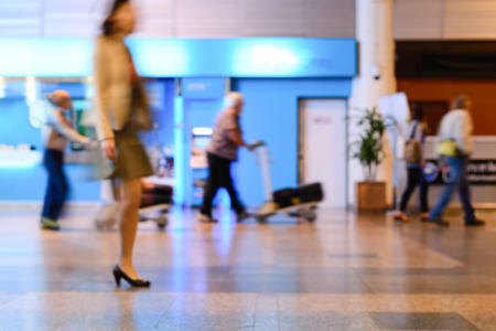 airport lounge: Blurred of business woman walking in airport lounge.