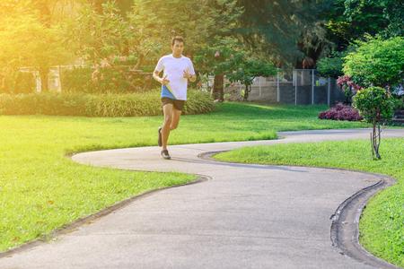 Marathon man runner in urban running track. Stock Photo - 54964137