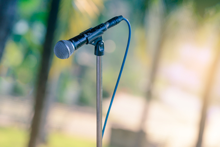 lecture theatre: Black color microphone in outdoor events.