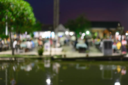 riverfront: Blurred of riverfront night party in summer. Stock Photo