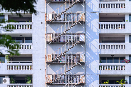 the escape: Fire escape of residential building.
