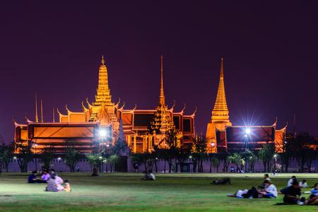 the emerald city: Wat Phra Kaew, Public temple at night in Bangkok, Thailand. Stock Photo