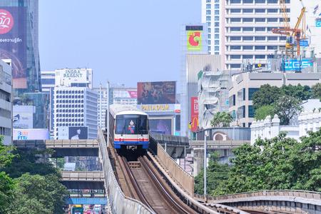 silom: BANGKOK, THAILAND - 2016 March 09: BTS Skytrain of Silom Line, The Silom Line is a route of BTS Skytrain in Bangkok, Thailand.