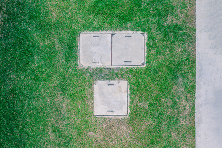 septic tank: Top view of cement septic tank for waste water. Stock Photo