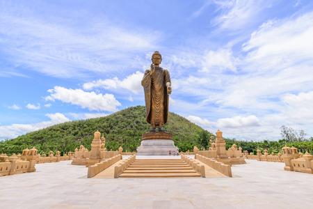 patronage: Phra Buddha Metta Pracha Thai Trai Lokanat Gandhara Anusorn memorial statue, Under The Royal Patronage of Her Majesty The Queen, Kanchanaburi Thailand. Editorial