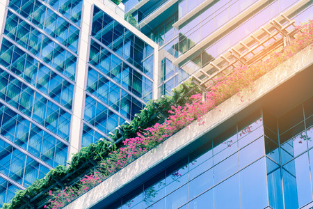 glass building: Small garden of flowers in front of office building.