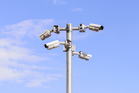 security monitor: Security IR camera for monitor events in city. Stock Photo