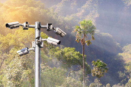 Security camera CCTV for monitoring and protection forest. Stock Photo - 58586848