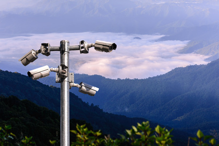Security camera CCTV for monitoring and protection forest. Stock Photo