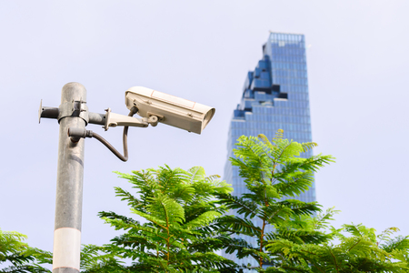 security monitor: Security IR camera for monitor events in city.