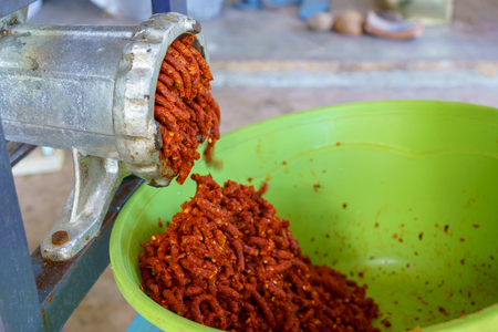 Thai curry paste make by electric grinder machine.