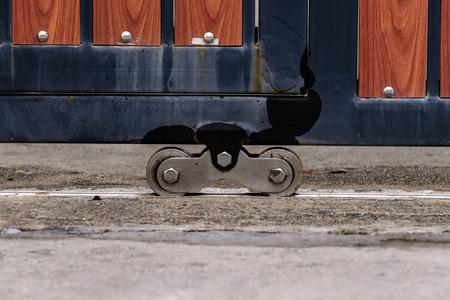 Metal wheel of outer door home. Stock fotó