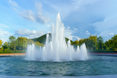 Beautiful fountain with mountain background.