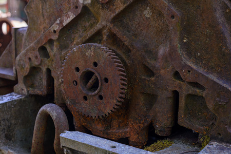 Rusted old cogwheel.