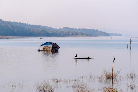 Floating house in lake, Kanchanaburi.