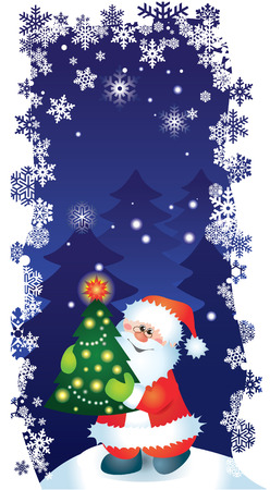 Christmas card with Santa for design Vector