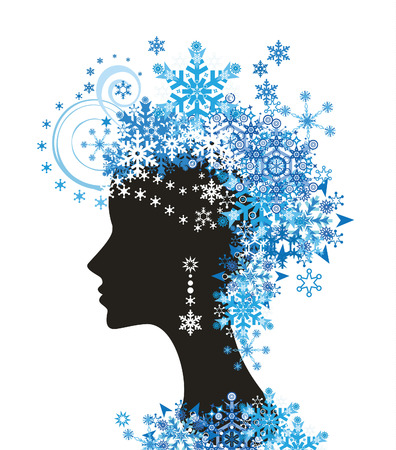 Decorative silhouette of woman with snowflakes Vector
