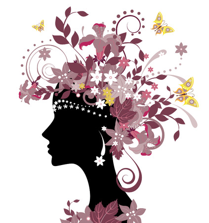 Decorative silhouette of woman with flowers Stock Vector - 3801364