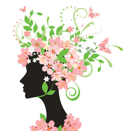 woman side view: Woman with flowers