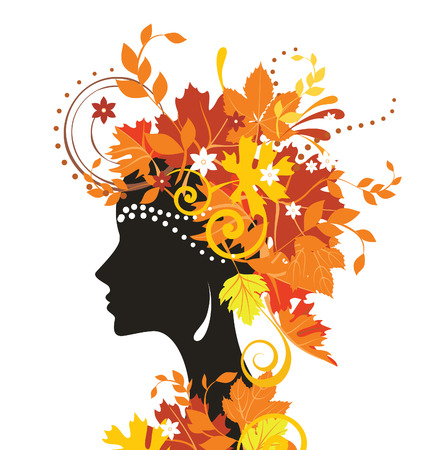 woman side view: Woman with autumn leaves