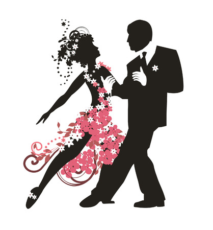 Silhouette of couple dancing tango Illustration