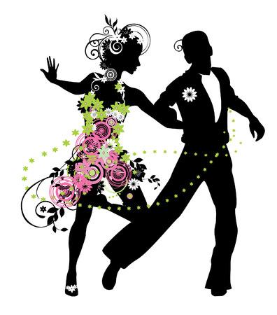 couple dancing: Silueta de la pareja que baila samba Vectores
