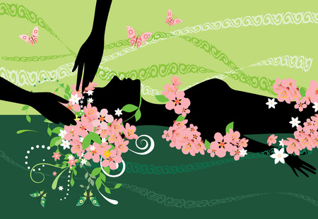 massage spa: Silhuette of woman  for design spa  Illustration