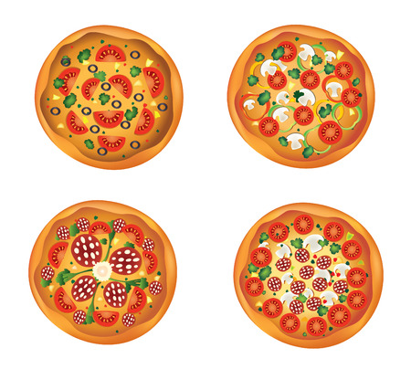 pepperoni: Four different pizzas for design