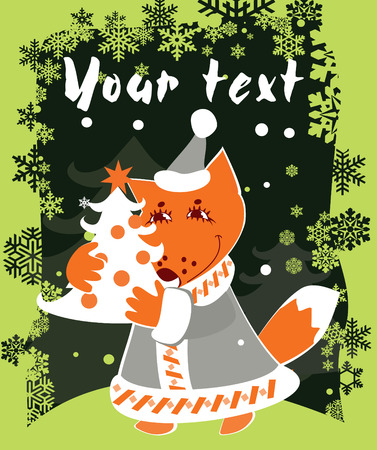 Christmas card with fox for design Vector