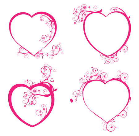 Four beautiful hearts for design Vector