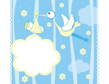 bambino: Baby boy arrival announcement card Illustration