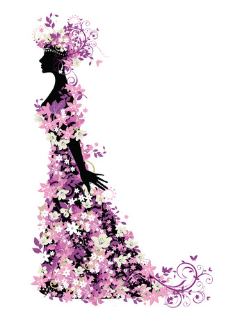 Decorative silhouette of woman with flowers Stock Vector - 4226356