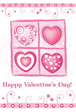 corazones: Valentines day card with hearts Illustration