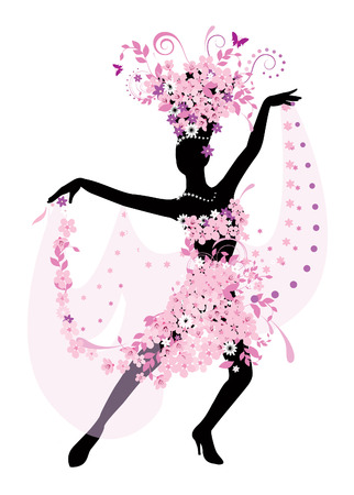 Silhouette of dancing woman with flowers Vector