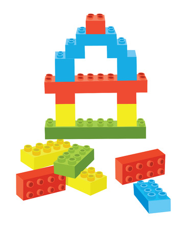 Vector meccano with blue, yellow, green and red blocks Vector