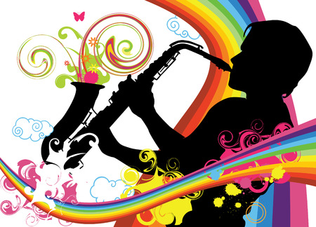 musician silhouette: Swirling sainbow illustration with saxophonist Illustration