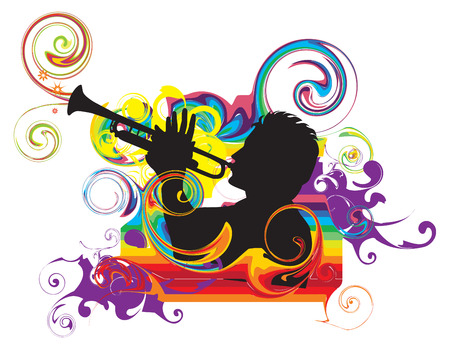 Swirling rainbow illustration with trumpeter