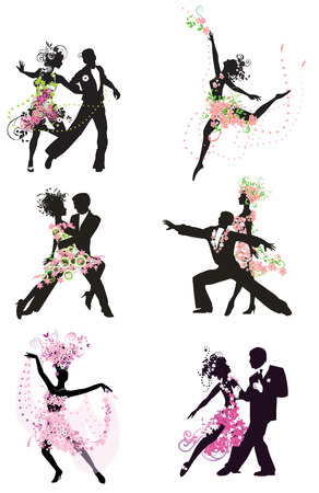 Silhouette dancing people for design Illustration