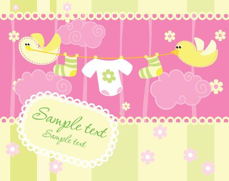 Baby girl arrival announcement card Stock Vector - 4305036